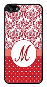 Initial M - Red Damask Polka Dots Monogram Snap-On Cover Hard Plastic Case for iPhone 5/5S (Black)