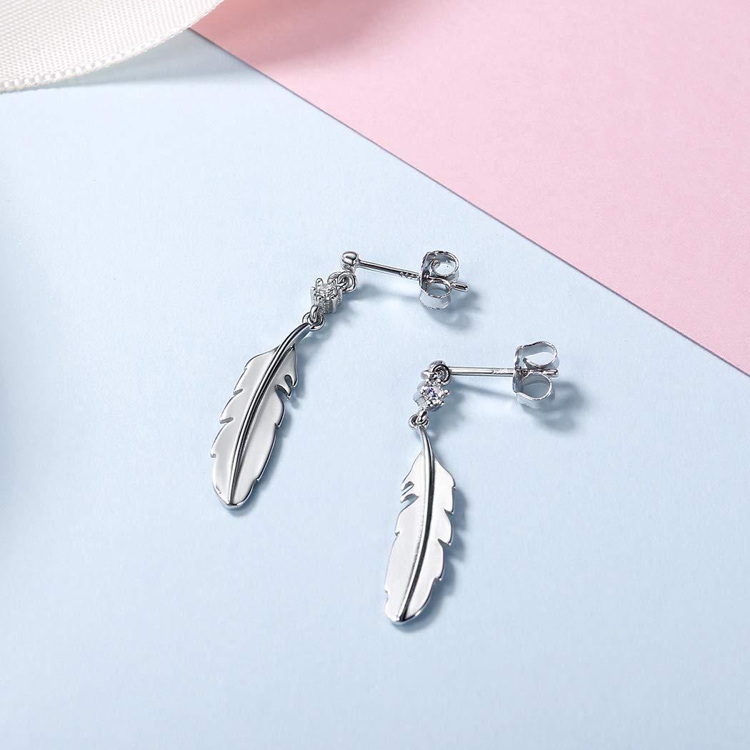 Feather Earrings 925 Sterling Silver Cute Bird Pinna Wing Drop Dangle Earrings