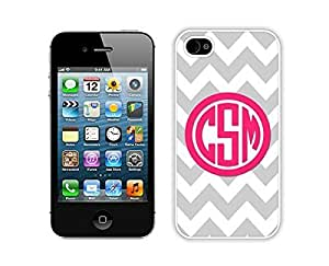 Case For Iphone 4/4S Cover Durable Soft Silicone PC Personalized Gray Chevron Pink Monogram White Mobile Phone for Iphone 4/4S