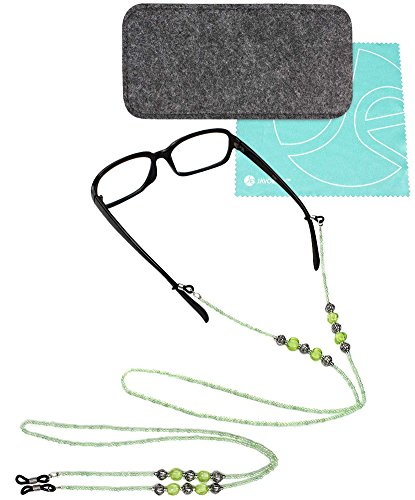 JE BASIC BUNDLE: Black Felt SlipIn Pouch for Sunglasses / Reading Glasses + 2 PCS SET Green Beaded Decorative Neck Chain