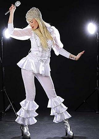 Womens 70s Deluxe Abba blanco estilo traje UK12 EU38: Amazon.es ...