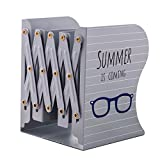 JIARI Summer Pattern Decorative Bookends Metal Heavy Duty Adjustable Bookend Book Holder Stable Book Stand Office Desk Organizer Shelf (Gray)