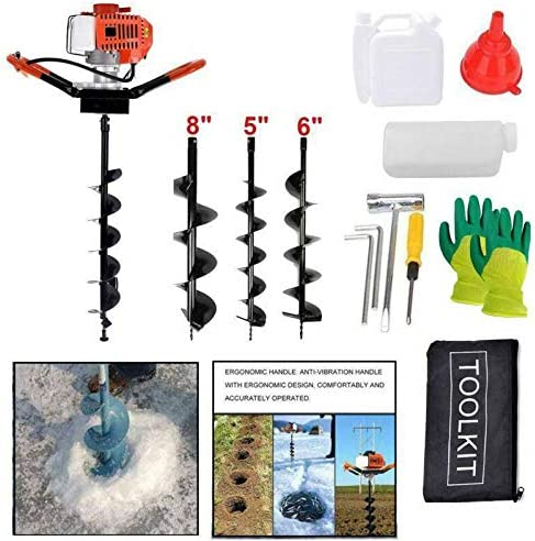DatingDay 52cc 2.5HP Post Hole Digger Gas Powered3 Earth Auger Fence Ground Drill Bits 8 & 6 & 5