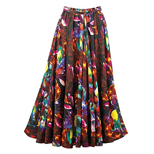 Maxi Sweep (Women's Floral Print Full Sweep Long Maxi Skirt, Brown, Xx-Large)