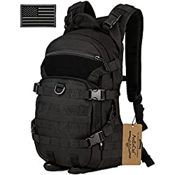 ArcEnCiel 25L Tactical Motorcycle Cycling Backpack Military Molle Pack Helmet Holder with Patch - Rain Cover Included (Black)
