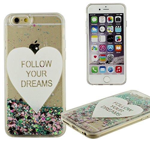 iPhone 6S Hülle (4.7 Zoll), Schwimmend Flüssigkeit Wasser iPhone 6 Handy Cover, iPhone 6 Case, Clear Crystal Transparent, Herzform Muster ( FOLLOW YOUR DREAMS ), dünn und Leichtgewichtler