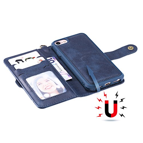 DAMONDY iPhone 8 Case iPhone 7 Case, Detachable 2 in 1 Cover Stand Wallet Purse Card Slot ID Holders Design Flip Cover Pocket Purse Leather Magnetic Protective for iPhone 7/iPhone 8-blue by DAMONDY (Image #2)