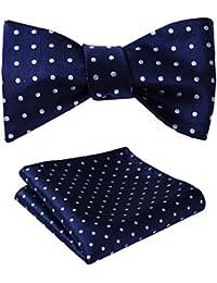 SetSense Men's Polka Dot Jacquard Woven Self Bow Tie Set One Size Navy Blue / Sky Blue