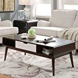 Accent Coffee Table, 1 Drawer and 2 Side Open Compartments, Sturdy Wood Construction, Storage Space, Extra Shelves, Rectangle Shape, Great for Living Room, Family Room, Home Furniture, Walnut Color