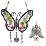 Banberry Designs Grandmother Set - 1 Butterfly Sun Catcher with Pressed Flowers - 1 Grandma Angel Wings Ornament -