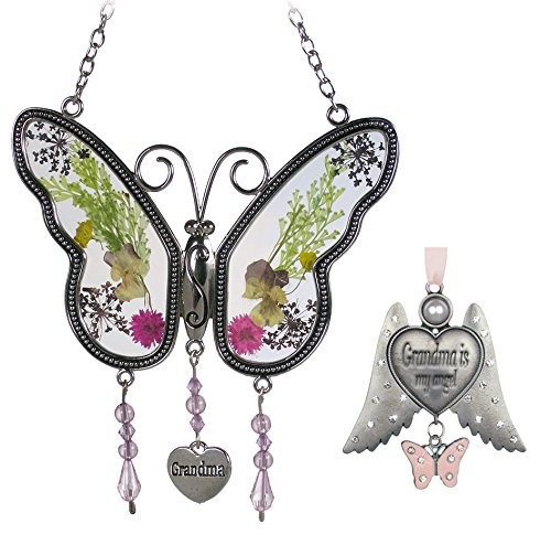 Banberry Designs Grandmother Set - 1 Butterfly Sun Catcher with Pressed Flowers - 1 Grandma Angel Wings Ornament - by Banberry Designs