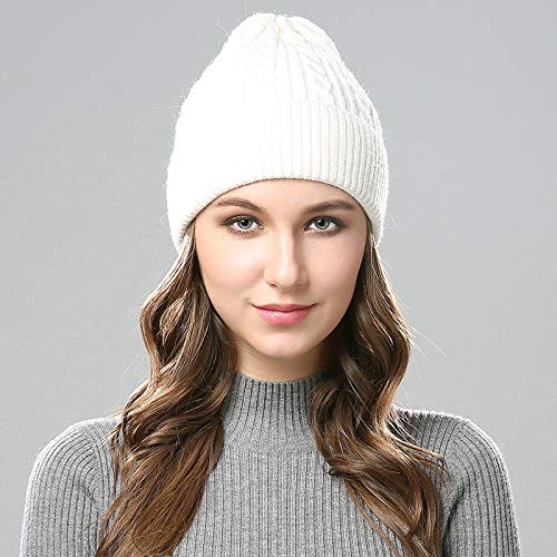 1ec8d245dde Amazon.com  VT BigHome Winter Hats Wool Women s Autumn Vogue Ladies  Woollen  Knitted Hat with Figure 8 Jacquard Knitted Warm and Windproof Cap  Kitchen    ...