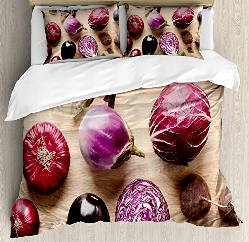- Ambesonne Natural Color Duvet Cover Set, Healthy Food Above Vista Photo of Fresh Vegetables and Figs, Decorative 3 Piece Bedding Set with 2 Pillow Shams, Queen Size, Champagne and Multicolor