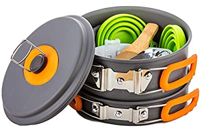 13 Piece Mess Kit Non Stick Aluminum Pots with Carrying Bag - Camping Cookware Survival