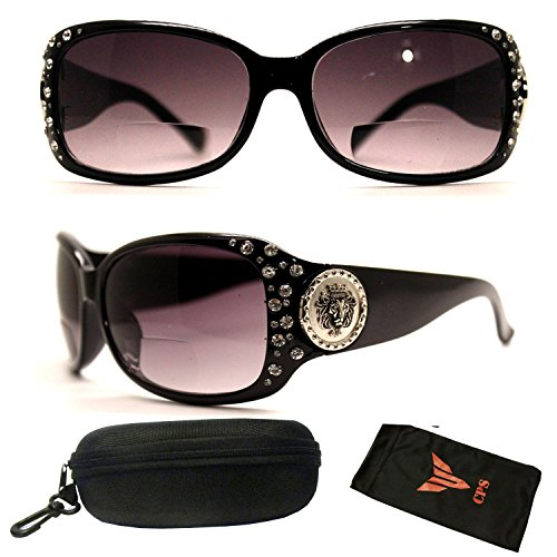 49cf36992e 1 Pair Bifocal Rhinestone Designer Full Large Size Newest Trendy Sun Reader  Sunglasses + Reading Glasses (Strength  +1.75)