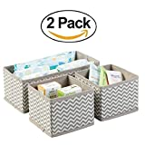 ClosetMate Chevron Fabric Closet/Dresser Drawer Storage Organizer, for Underwear, Socks, Bras, Tights, Leggings - Set of 3, Taupe/Natural (2 pack)