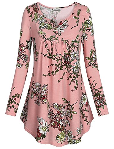 SeSe Code Womens Long Shirts to Wear with Leggings, Ladies' Split V-Neck Roomy Sleeve Unique Floral Printed Office Comfy Blouses Flared Casual Tunic Tops X Large Pink (Cheap Long Shirts To Wear With Leggings)