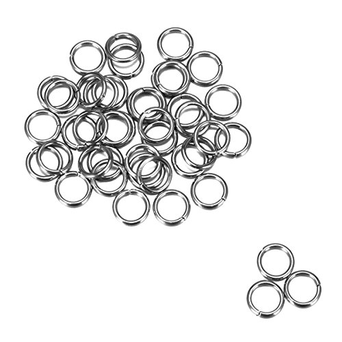 HOUSWEETY Stainless Steel Jewelry Finding 1000pcs Silver Tone Open Jump Rings Connectors 6mm x 0.9mm