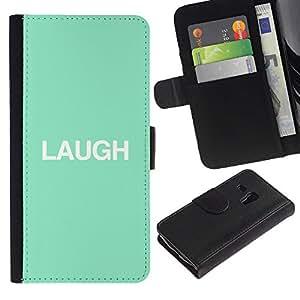 LASTONE PHONE CASE / Lujo Billetera de Cuero Caso del tirón Titular de la tarjeta Flip Carcasa Funda para Samsung Galaxy S3 MINI NOT REGULAR! I8190 I8190N / laugh mint text minimalist inspirational