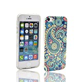 iPhone 5s Case,iPhone 5 Case, V-Fyee Slim Flexible Dual TPU Rubber Back Cover Case with Blue Paisley Pattern Design for iPhone SE / 5 / 5s