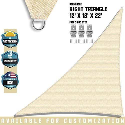 TANG Sunshades Depot 12 x 18 x 21.6 Sun Shade Sail Right Triangle Permeable Canopy Tan Beige Custom Commercial Standard 180 GSM HDPE