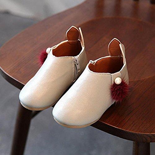 Clode® Kleinkind Baby Mädchen Nette Kaninchen Ohr Ball Turnschuh Stiefel Reißverschluss Freizeitschuhe Grau