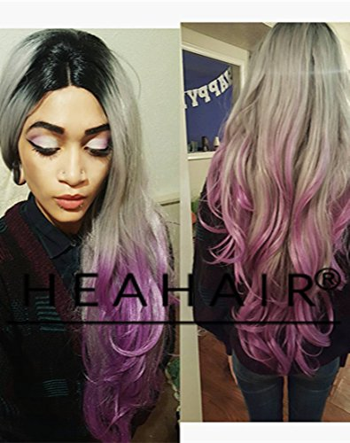 Heahair New Dark Root Gery to Purple Handtied Synthetic Lace Front Wig for Woman