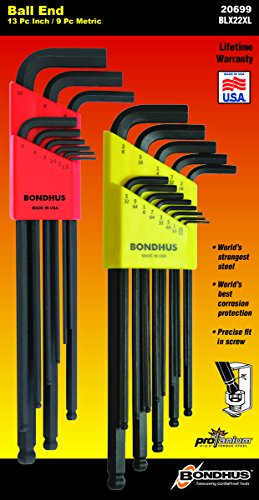 Bondhus 20699 Ball End Tip Screwdriver Set with ProGuard Fin