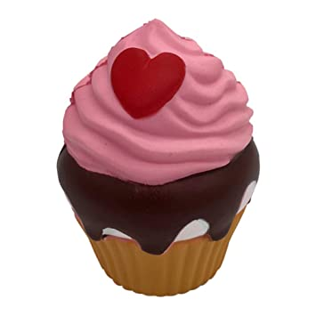 Adeeing Cute Simulate Loving Heart Cupcake Squishy Toy Home Decor