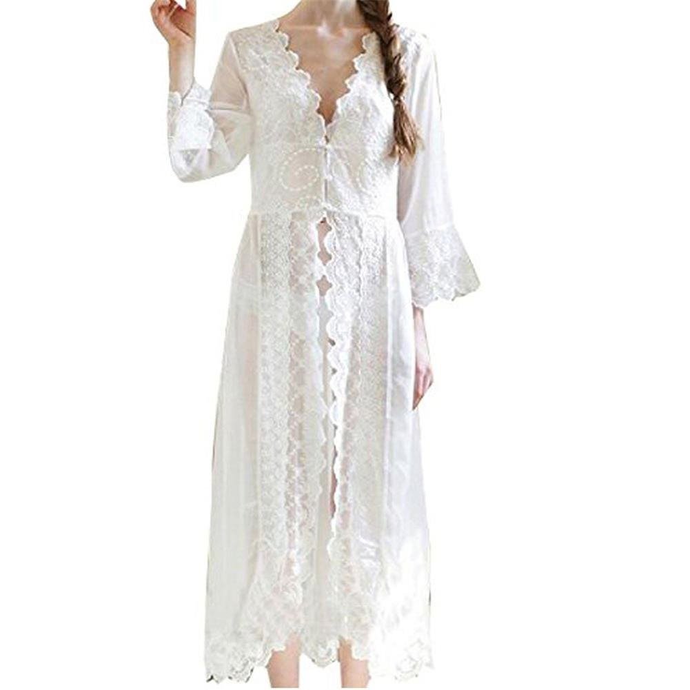 Vintage Nightgowns, Pajamas, Baby Dolls, Robes Women Nightgown Chiffon Embroidery Dress Sheer Lace Nightwear Sleepwear Cover up Sexy Robe Pajamas $26.99 AT vintagedancer.com