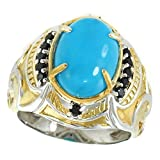 Michael Valitutti Palladium Silver Oval Kingman Turquoise & Black Spinel Men's Ring