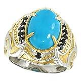 Michael Valitutti Palladium Silver Oval Kingman Turquoise & Black Spinel Men's Ring