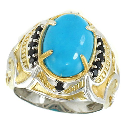 Michael Valitutti Palladium Silver Oval Kingman Turquoise & Black Spinel Men's Ring by Michael Valitutti