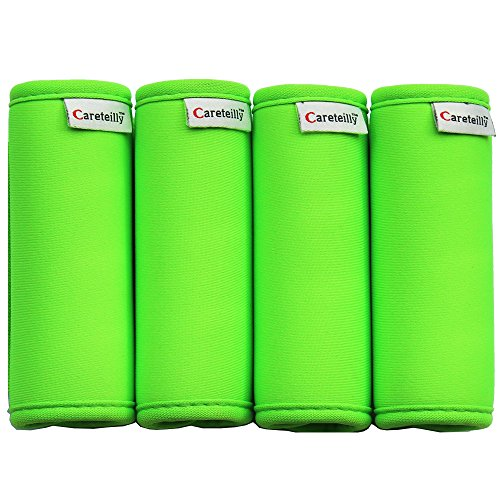 Careteilly Neoprene Luggage Handle Wrap Bright Green Luggage Identifiers For Traveling Neon Luggage Handle Grips ()