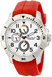 Nautica Men's NAD12506G NSR 300 Stainless Steel Watch with Red Band
