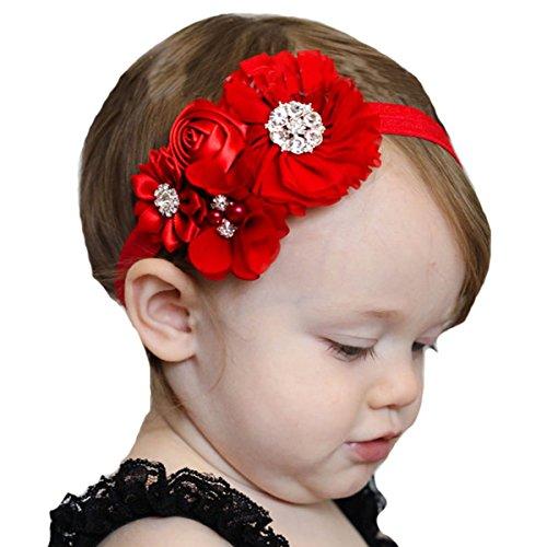 [Miugle Baby Red Headbands Rhinestone Hair Bows Girls Hair Band Turban Head Wraps] (Red Girls Hair Band)