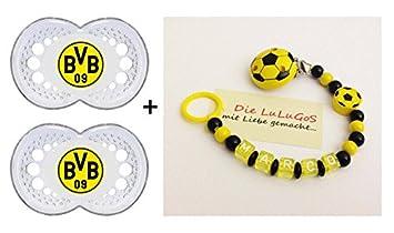 Schnullerkette mit Namen Fussball Junge Mädchen gelb schwarz Holz Baby Schnuller