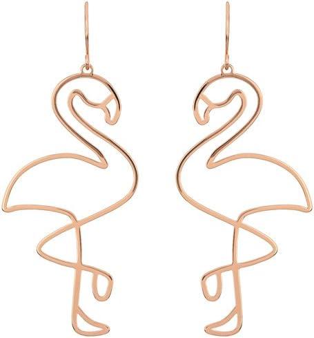 Lumanuby 1par Creativas Hohlen Flamingo Pendientes para niña y Mujer Lleno de líneas pájaro Pendientes en Forma de Flamenco Regalo para la Madre Hermana o Freundin Oro Color Size 6.5cm * 2.8cm