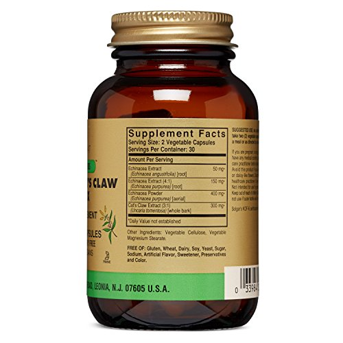 Solgar Full Potency Echinacea/Goldenseal/Cat's Claw Complex Vegetable Capsules, 60 Count