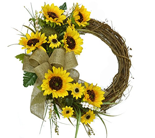 Yellow Sunflower Wreath WR4900 by Floral Home Decor
