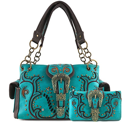 Justin West Western Brown Purse Tooled Laser Cut Floral Design Studs Rhinestone Buckle Concealed Carry Handbag With Trifold Wristlet Cross Body Strap Wallet Set (Turquoise Black) ()
