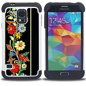 BullDog Case - FOR/Samsung Galaxy S5 I9600 G9009 G9008V / - / PATTERN VINTAGE FLORAL HERITAGE RETRO /- H??brido Heavy Duty caja del tel??fono protector din??mico - silicona suave