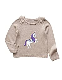 Little Girls Sequin Pullover Sweater Tops Horse Cotton Outerwear