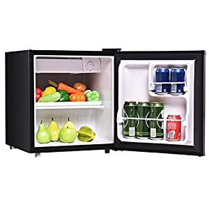1.7 Cu. Ft. Black Compact Small Single Door Refrigerator Mini Fridge With Internal Freezer Cooler Reversible Door Adjustable Temperature Perfect For Dorm Wet Bars Apartment Condo Office Hotel
