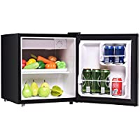 Black Single Door Compact Refrigerator Internal Freezer Cooler 1.7 Cu. Ft. Small Mini Fridge Suited For Student Dormitories Wet Bars Apartments Condos Office Eco-Friendly Natural R600a Refrigerant