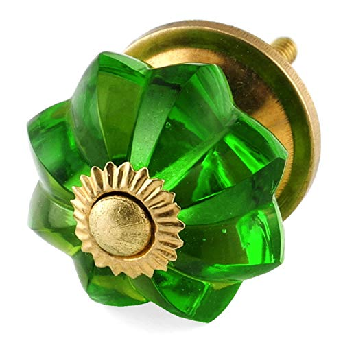 - Emerald Green Cabinet Knobs 6pc Cupboard Drawer Pulls & Handles K238VM Glass Knobs with Polished Brass Hardware Glass Knobs, Handles & Pulls for Dresser, Drawers & Cabinets Romantic Decor & More