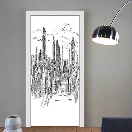 Gzhihine custom made 3d door stickers New York Decor Hand Drawn NYC Cityscape Tourism Travel Industrial Center Town Modern City Design Black White For Room Decor 30x79 by Gzhihine