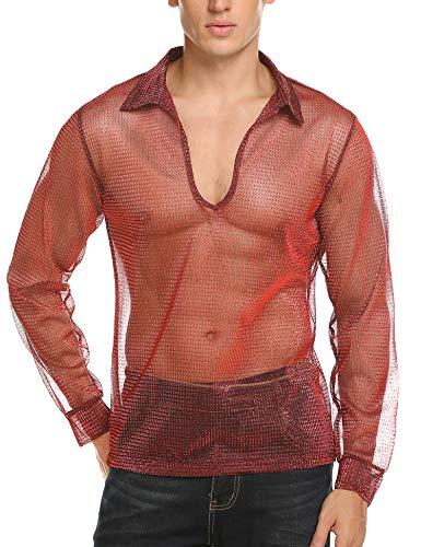 COOFANDY Men Lightweight Fashion Hipster Hip Hop Halloween Long Sleeve Shirts Red