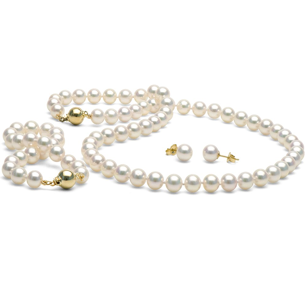 14K Cultured White Japanese Saltwater Akoya Pearl 3-piece Jewelry Set, 7.0-7.5mm - 18-Inch Necklace, AA+ Quality, Yellow Gold
