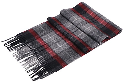 ANDORRA Women's 100% Cashmere Scarf w/ White Gift Box,Red/ Gray/ Black Plaid
